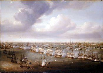 Naval Battle of Copenhagen, painting by Nicolas Pocock