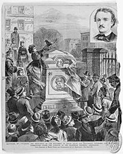 Edgar Allan Poe's reburial celebration on November 17, 1875 at Westminster graveyard.