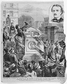 Mylène apprécie E.A. POE dans Mylène et les AUTEURS 280px-Poe_Grave_at_Westminster_1