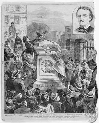 1875 in literature - Edgar Allan Poe's reburial and new monument, October 1, 1875.