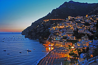 Positano - View of Positano at sunset