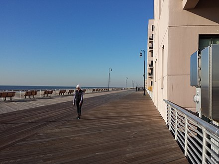 The newly rebuilt boardwalk in November 2013. Post Sandy Boardwalk In Long Beach NY.jpg