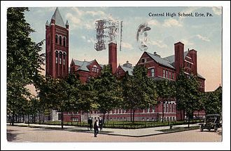 Central Tech High School - Postcard, about 1913, of the building that stood at 10th and Sassafras Streets