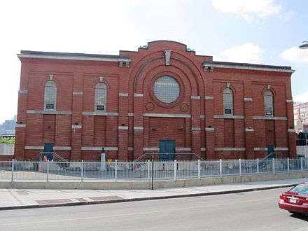 The Adelard-Godbout substation in Old Montreal is Canada's oldest substation, in continuous operation since 1901. It has a facade in clay brick with grey stone ornaments, to blend into its downtown environment. Poste Adelard-Godbout 06.JPG