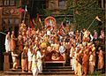 Prabhupada and the devotees outside Schloss Rettershof, Frankfurt.jpg