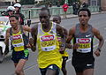 Prague Half Marathon 2013 - leading group crossing Čechův most 05.JPG