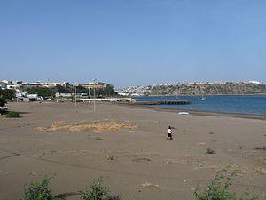 Gamboa, Praia - Gamboa Beach with the view of the Plateau and Achada Grande Leito