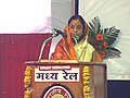 Pratibha Devisingh Patil addressing at the flagging off ceremony of the new train from Amravati to Mumbai and laying the foundation stone for the transformation of Amravati railway station into a model Railway station at.jpg