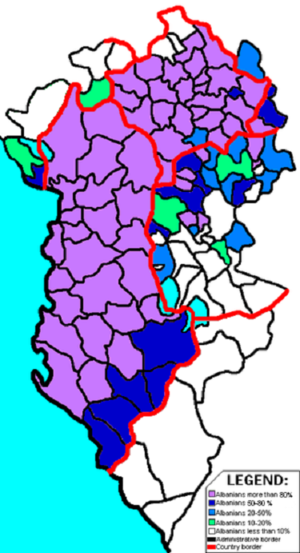 Greater Albania - Albanians in Albania and neighboring countries