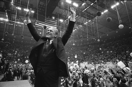 Ford campaigns at the Nassau County Veterans Coliseum in Hempstead, New York on October 31, 1976 during the final days of the campaign. President Ford campaigns at the Nassau County Veterans Coliseum - NARA - 7027912.jpg