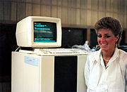 A Prime 9950 computer system with CRT console in Kean University computer room