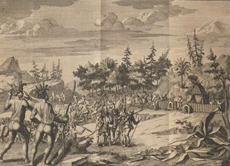 Squanto - Engraved illustration of Pring's barricade in 1706 Dutch translation of the account in Purchas.