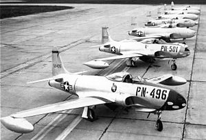 Continental Air Command - ConAC Fourth Air Force 1st Fighter Wing Lockheed P-80s at March AFB, California 1948.