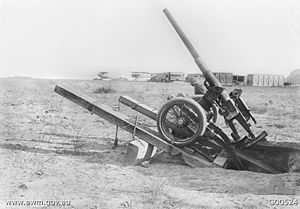 Ordnance QF 3-pounder Vickers - RNAS gun on improvised anti-aircraft mounting, Tenedos, Dardanelles, 1915. Photo by Ernest Brooks.