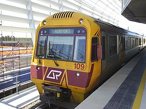Rail transport in Queensland - IMU 109 at the International Terminal on its way to the Domestic Terminal
