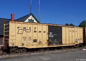 Suffolk, Virginia - A RailBox boxcar exporting peanuts.