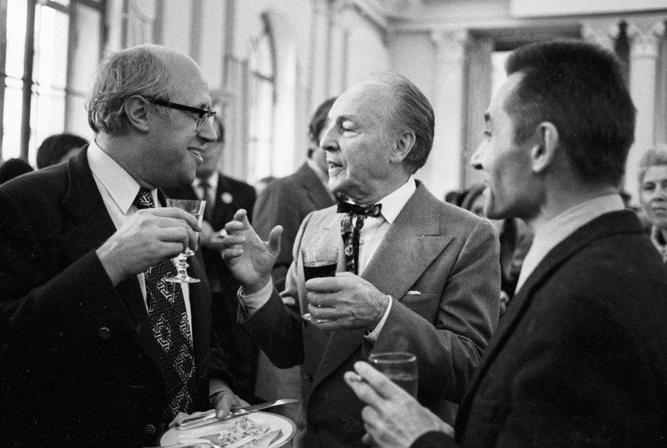 RIAN archive 32796 Mstislav Rostropovich, George Balanchine and Yuri Grigorovich