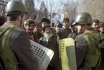 Nationalist anti-government riots in Dushanbe, Tajikistan, 1990 RIAN archive 699872 Dushanbe riots, February 1990.jpg