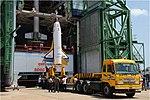 RLV-TD HEX01, Mock up of Technology Development Vehicle (TDV) being hoisted at First Launch Pad of Satish Dhawan Space Centre, Sriharikota (SDSC SHAR).jpg