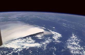 Rabaul caldera - Image: Rabaul Volcano STS064