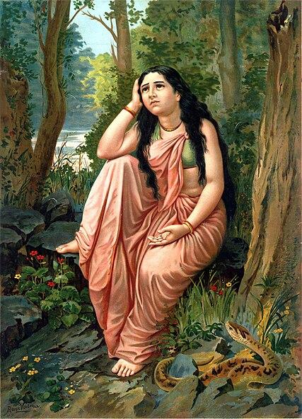 File:Raja Ravi Varma, Damayanti Vanavasa (Oleograph).jpg