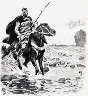 Hrafnkels saga - Hrafnkell as depicted in an 1898 illustration by Andreas Bloch.