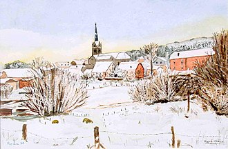 Redu - Painting of the village in the winter.