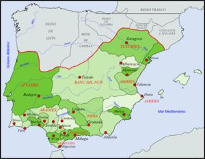 carte montrant les divisions du monde musulman dans la péninsule ibérique (les 2/3 de la péninsule)