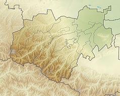 """Mapa konturowa Kabardo-Bałkarii, blisko lewej krawiędzi znajduje się czarny trójkącik z opisem """"Elbrus"""""""