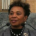 Representative Barbara Lee at the Opening Reception, Quilt Challenge for the Global Fund (cropped).jpg