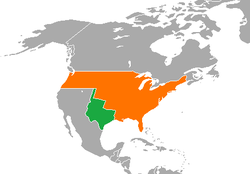 Map indicating locations of Republic of Texas and United States