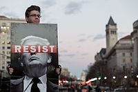 "Resist sign, Thursday evening rally against Trump's ""Muslim Ban"" policies sponsored by Freedom Muslim American Women's Policy (32172279050).jpg"