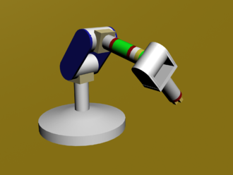 Forward kinematics - An articulated six DOF robotic arm uses forward kinematics to position the gripper.