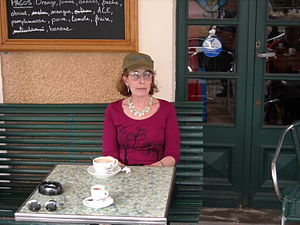 Rochelle Owens - Rochelle Owens in a café in the Ardèches during a riverboat cruise up the Rhone.