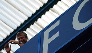 Roman Abramovich - Roman Abramovich at Stamford Bridge during a 4–0 victory over Portsmouth in August 2008.