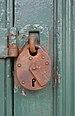 Rusty padlock on Blacks, Oban, July 2020.jpg