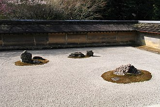 Rinzai school - The dry garden at Ryōan-ji, a Rinzai Zen temple in Kyoto.