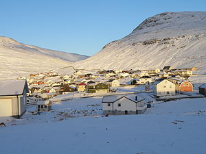 Sørvágur - The eastern part of Sørvágur in snow, Christmas Day 2010.