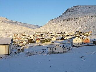 Sørvágur - The eastern part of Sørvágur in snow, Christmas Day 2010.