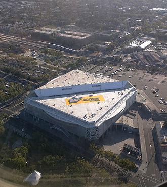 SAP Center - Aerial view of SAP Center from a landing at SJC