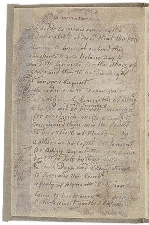 Journals of the First Fleet - The first page of John Easty's journal