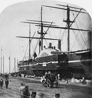 PS Commonwealth (1854) - Image: SS Great Eastern in New York Harbor by Stacy