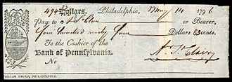 Arthur St. Clair - St.Clair signed check while Governor of Northwest Territory (1796)