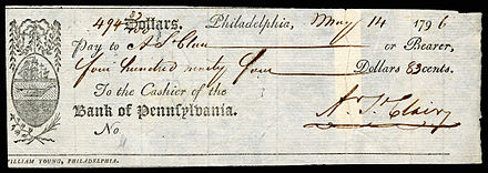St. Clair signed check while Governor of Northwest Territory (1796)