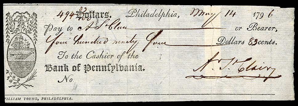 ST.CLAIR, Arthur (signed check)