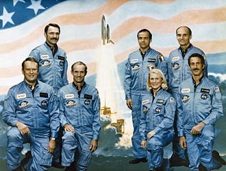 Jake Garn (top-right), former Senator of Utah (1974-1993), and astronaut on Space Shuttle flight STS-51-D STS-51-D crew.jpg
