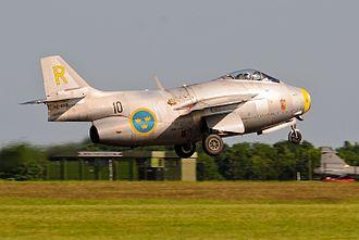 Saab 29 Tunnan - Saab J-29, Swedish Air Force Historic Flight, RAF Waddington Airshow 2013