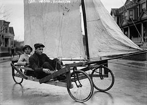 Land sailing - An early 20th-century sail wagon in Brooklyn, New York