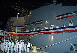 Recruit Training Command, Great Lakes, Illinois - U.S. Navy sailors man the rails of the training simulator, USS Trayer (BST-21), which was completed in June 2007