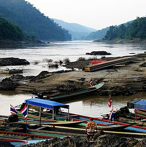 Salween River - Salween River forming the boundary between Burma and Thailand